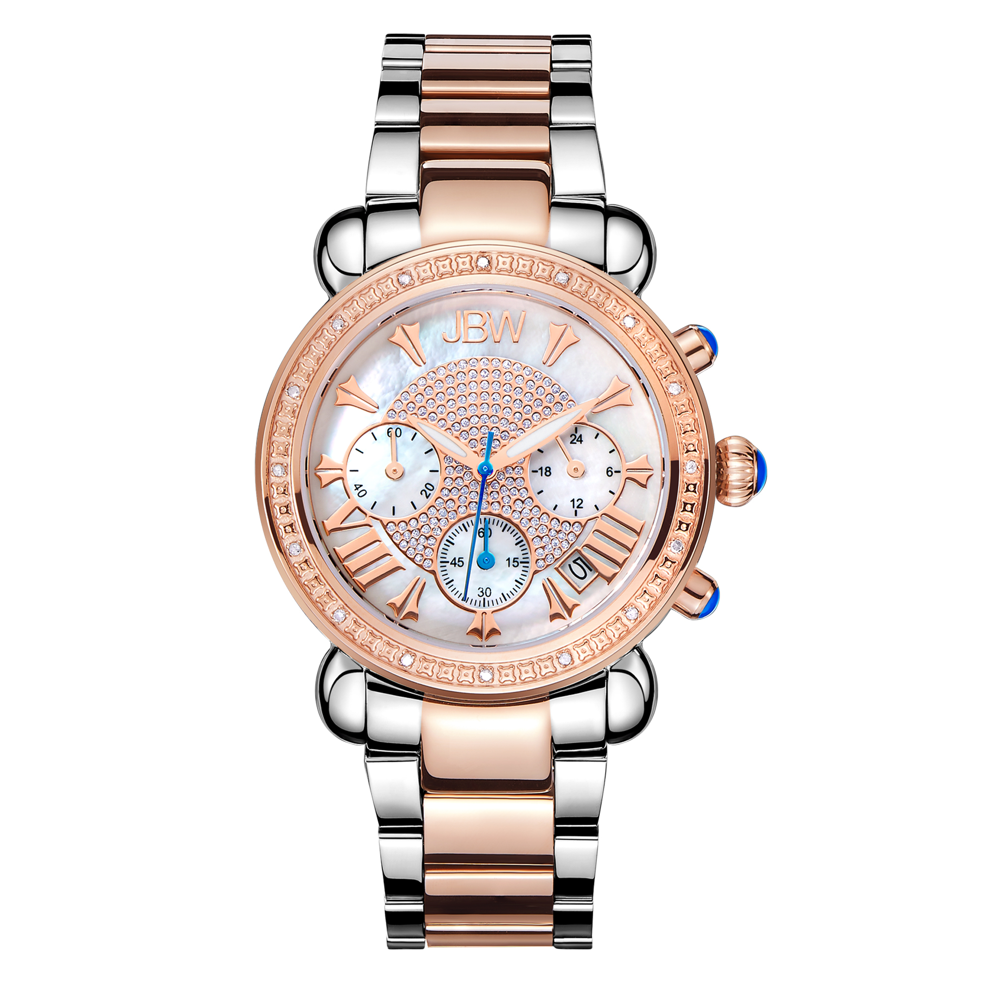 Jbw Victory Diamond Chronograph Mother Of Pearl Dial Ladies Watch Jb-6210-n In Gold