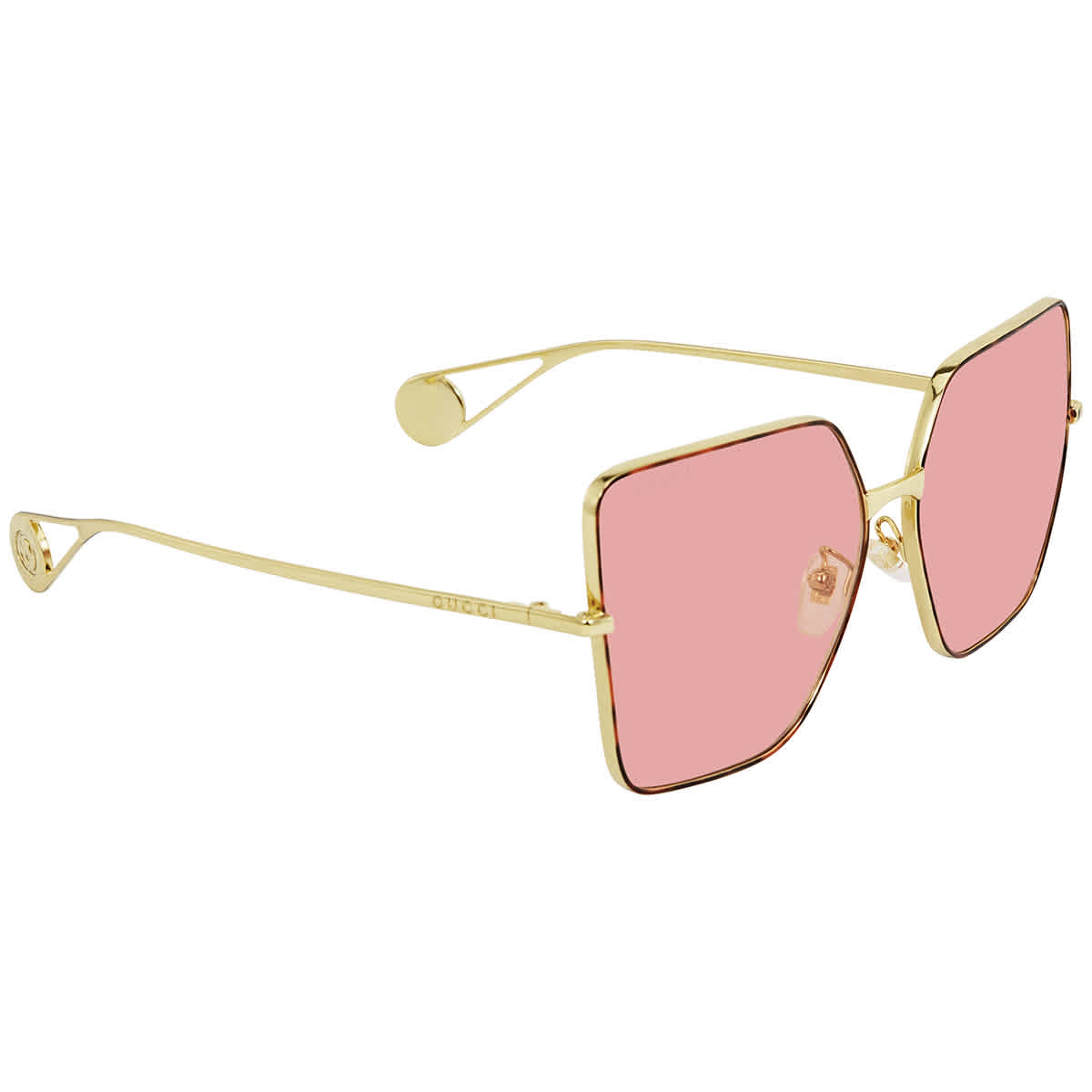 Gucci Pink Butterfly Ladies Sunglasses Gg0436s00561 In Gold Tone,pink