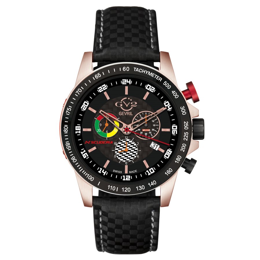 Gv2 By Gevril Scuderia Chronograph Quartz Black Dial Mens Watch 9914