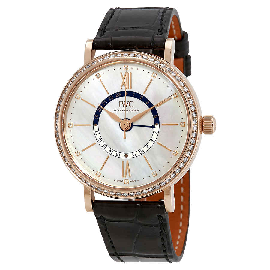 Iwc Schaffhausen Portofino Day And Night Automatic Mother Of Pearl Dial Ladies Watch 4591-02 In Gold