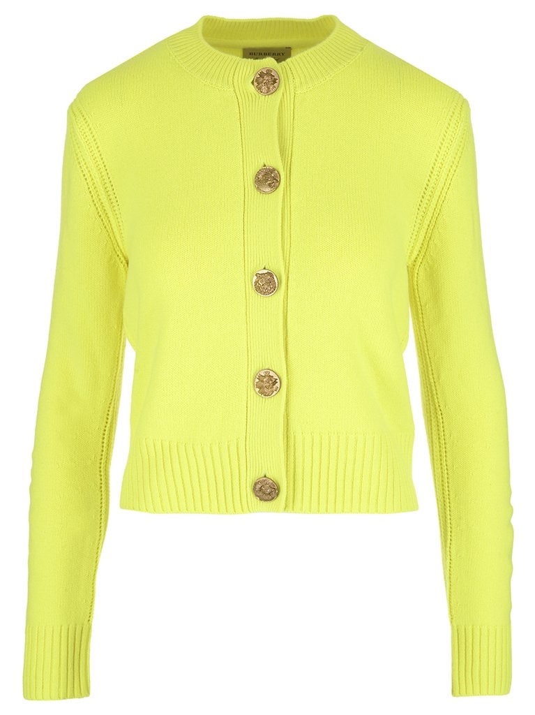 Burberry Bird Button Cashmere Cardigan In Yellow