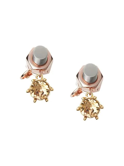 Burberry Ladies Charm Rose Gold-plated Nut And Bolt Earrings