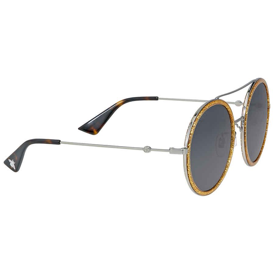 Gucci Round Yellow Glitter Metal Sunglasses In Metallic