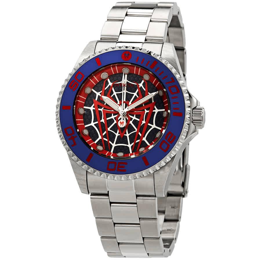 Invicta Marvel Spiderman Quartz Black Dial Mens Watch 29683 In Black,blue,silver Tone