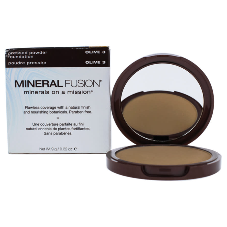 Mineral Fusion Pressed Powder Foundation - 03 Olive By  For Women - 0.32 oz Foundation In Green