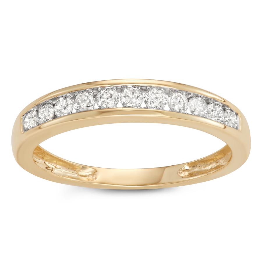 Hetal Diamonds 1/4 Cttw 10kt Yellow Gold Channel Set Diamond Wedding Band