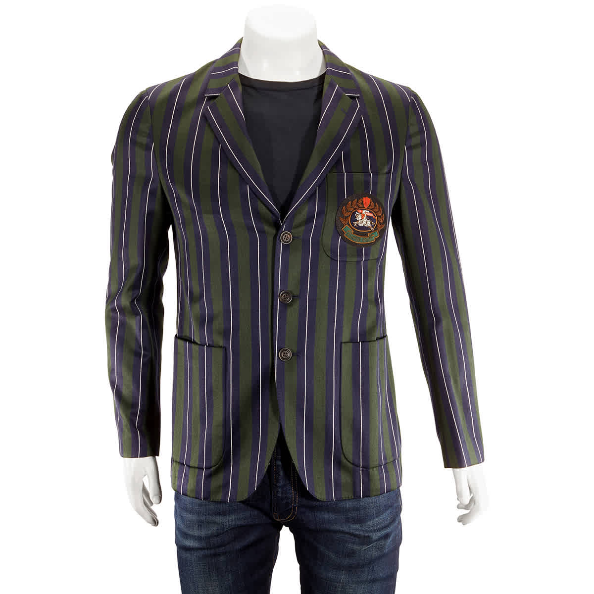 Burberry Striped Wool Cotton Slim Fit Club Blazer In Green