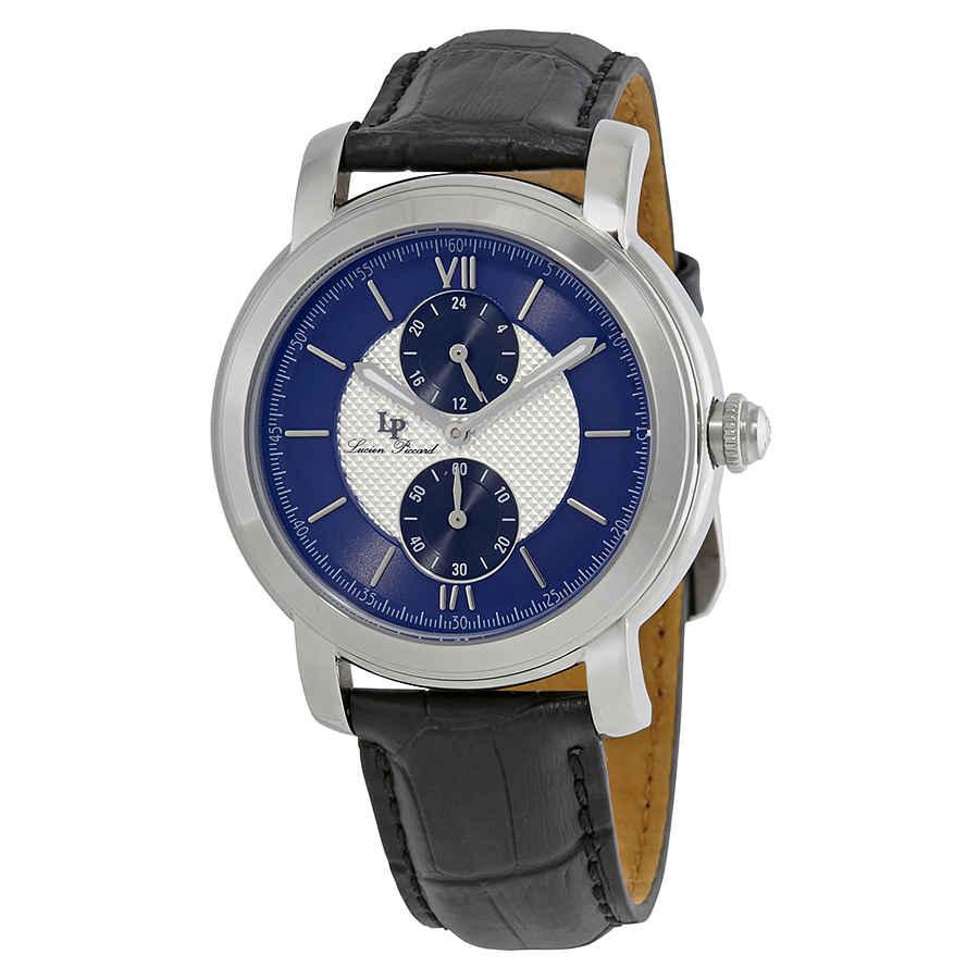 Lucien Piccard Spiga Dual Time Mens Watch 40026-02s-blc-ba In Black,blue,silver Tone