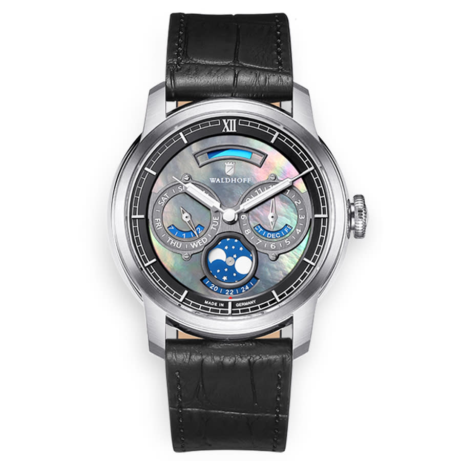 Waldhoff Olympus Automatic Grey Dial Mens Watch Olympus Carbon Silver In Black,grey,silver Tone