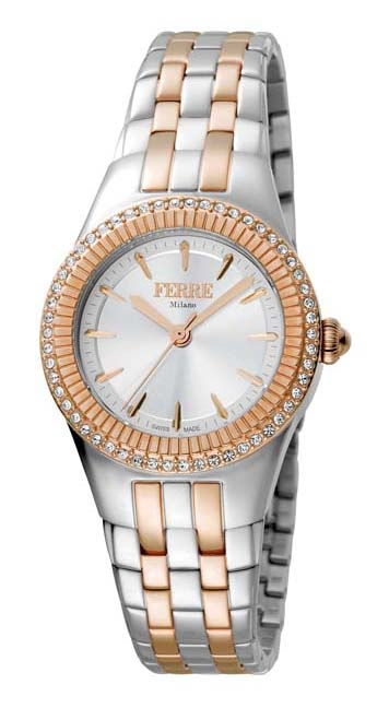 Ferre Milano White Mother Of Pearl Dial Ladies Watch Fm1l089m0101 In Metallic
