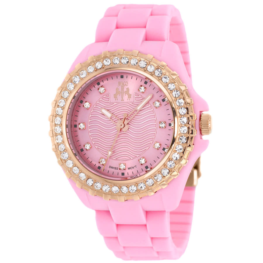 Jivago Cherie Pink Dial Crystal-set Ladies Watch Jv8216 In Gold Tone,pink,rose Gold Tone