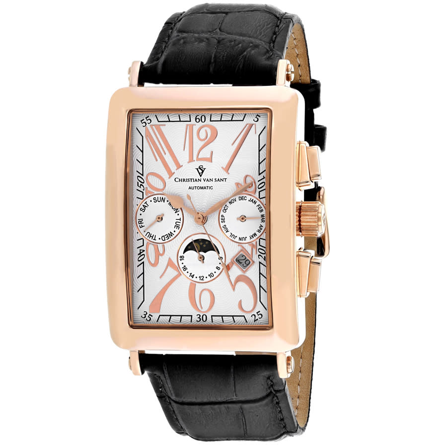Christian Van Sant Prodigy Automatic White Dial Mens Watch Cv9140 In Black,gold Tone,pink,rose Gold Tone,white