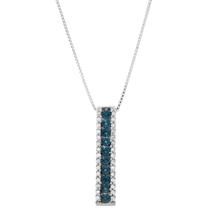 Hetal Diamonds 0.20cttw Miracle Plate Blue Diamond Stick Pendant In Sterling Silver