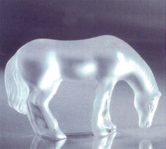 Lalique Crystal Ulysses Horse With Head Down 12161 In Black