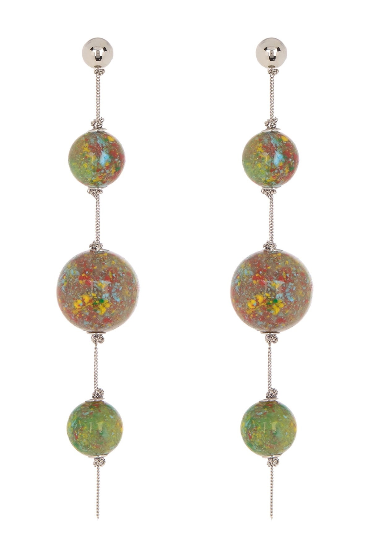 Burberry Ladies Triple Orb Chain Drop Earrings In Brown