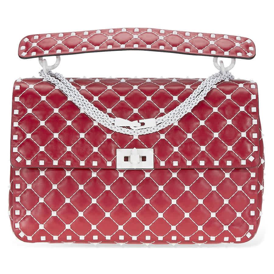 613ed50b0ab Valentino Rockstud Spike Shoulder Bag- Red