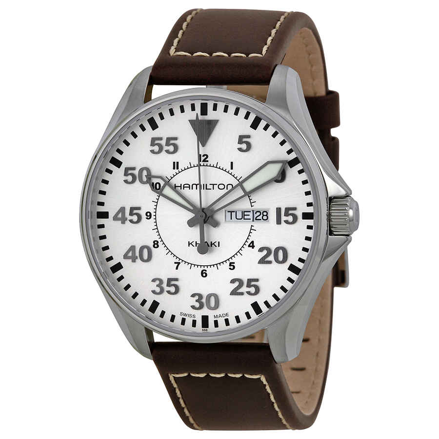 Hamilton Khaki Pilot Brown Leather Mens Watch H64611555 In Beige,brown,silver Tone