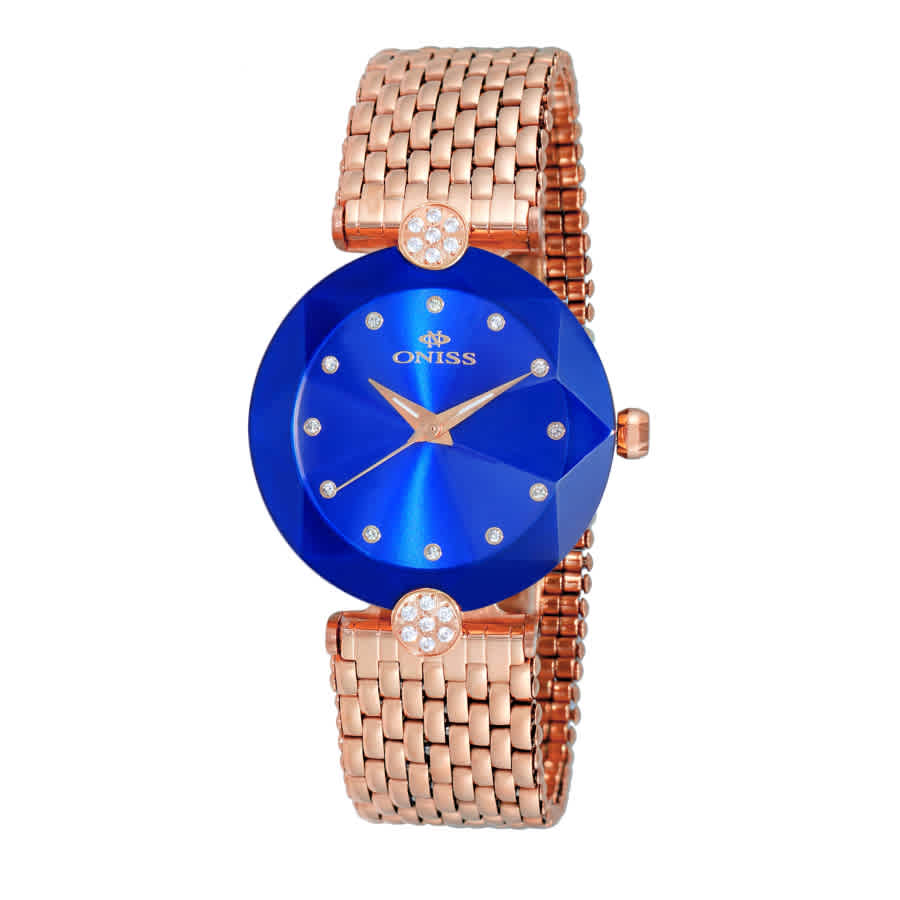 Oniss On8777s Blue Dial Ladies Watch Onj8777-0lrgbu In Blue,gold Tone,pink,rose Gold Tone