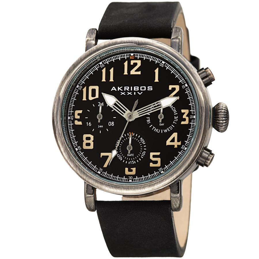Akribos Xxiv Quartz Black Dial Black Leather Mens Watch Ak1028bk
