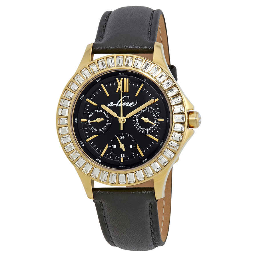 A_line Multi-function Quartz Crystal Black Dial Ladies Watch 80188-yg-01 In Black,gold Tone,yellow