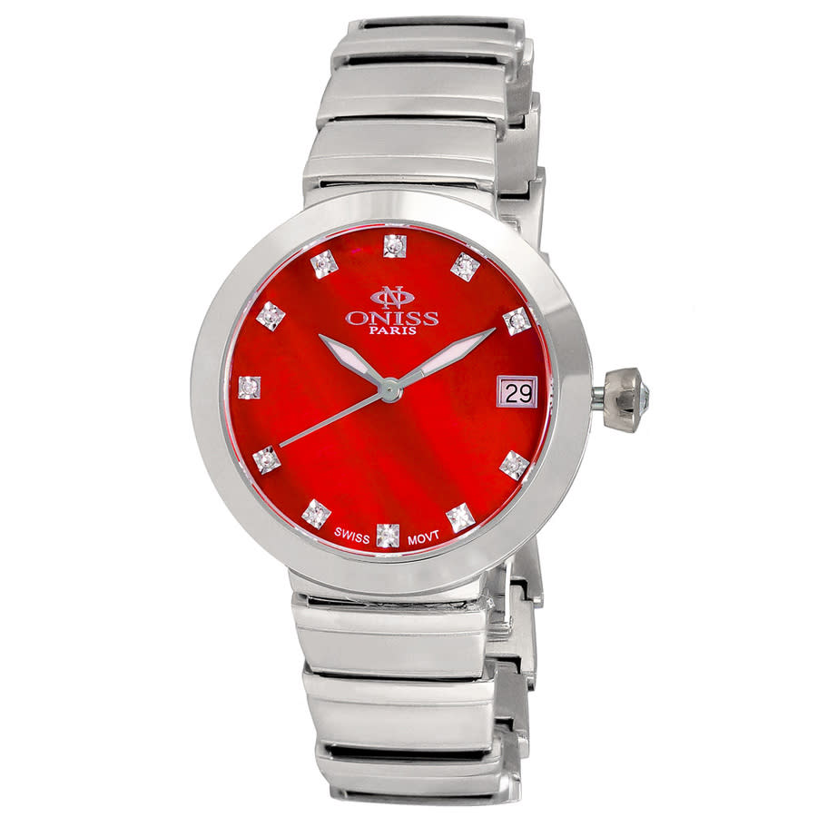 Oniss On5559ss Quartz Red Dial Ladies Watch On5559sslrd In Red,silver Tone