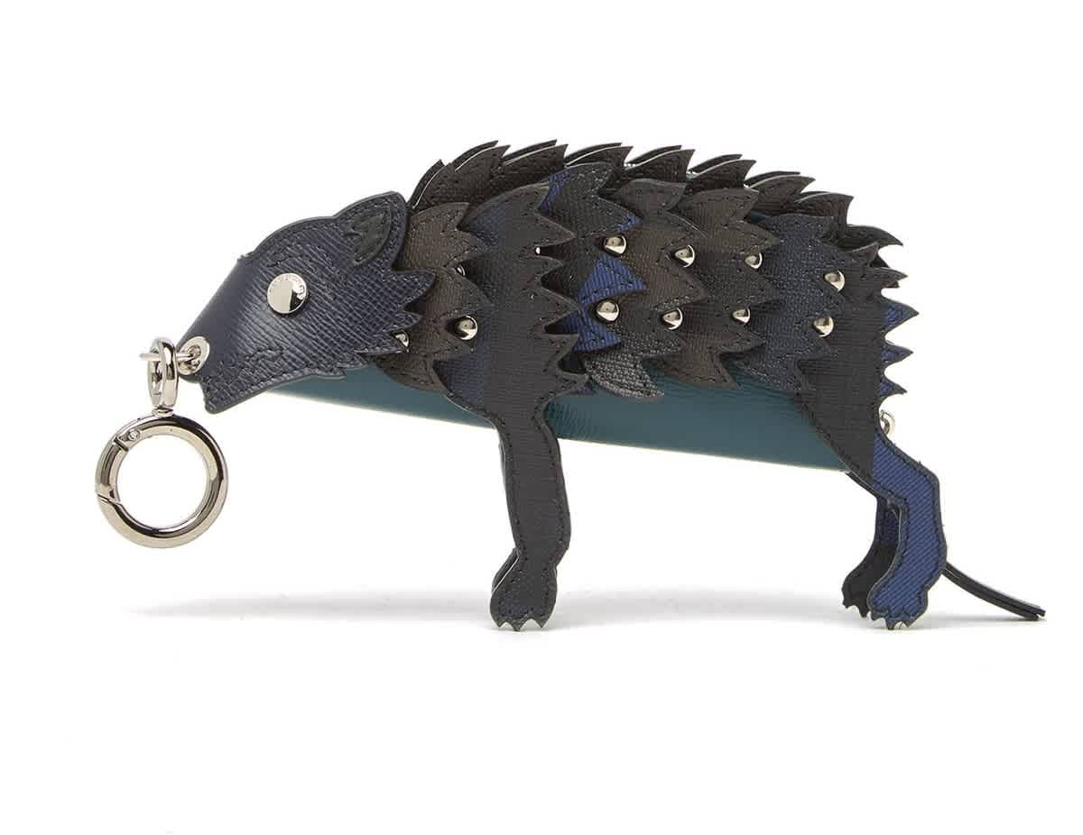 Burberry Wolf Leather Key Ring Coin Pouch In Blue