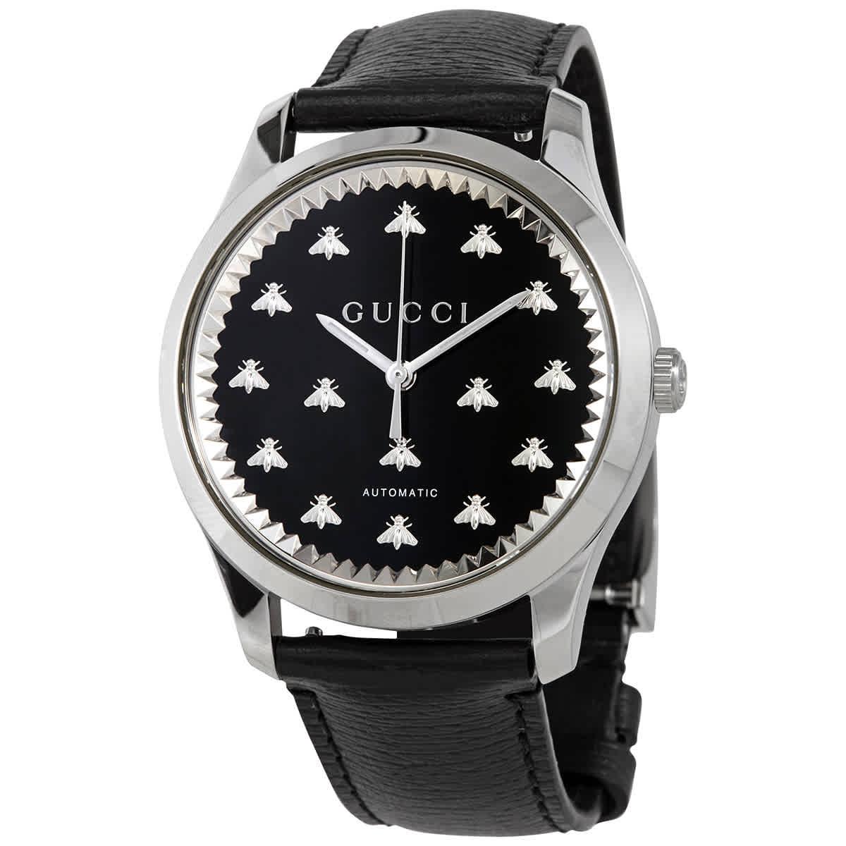 Gucci G-timeless Automatic Black Onyx Stone Dial Mens Watch Ya126286 In Metallic