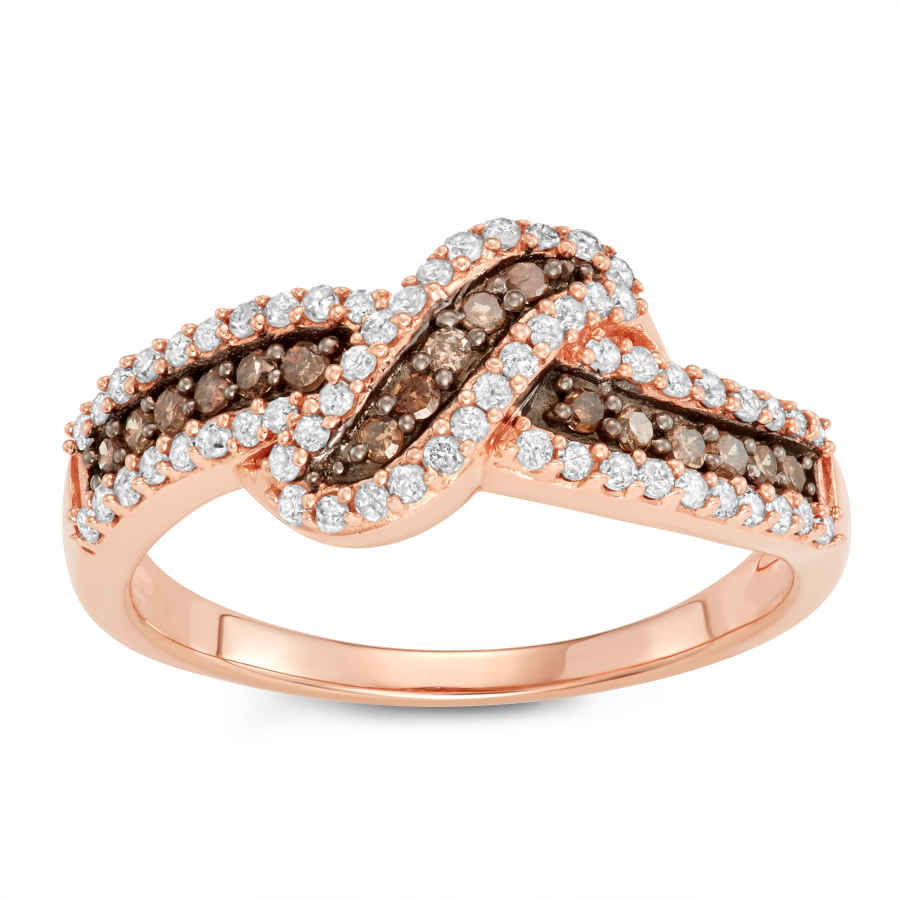 Hetal Diamonds 1/2 Cttw Brown And White Diamond Ring In Sterling Silver In Gold