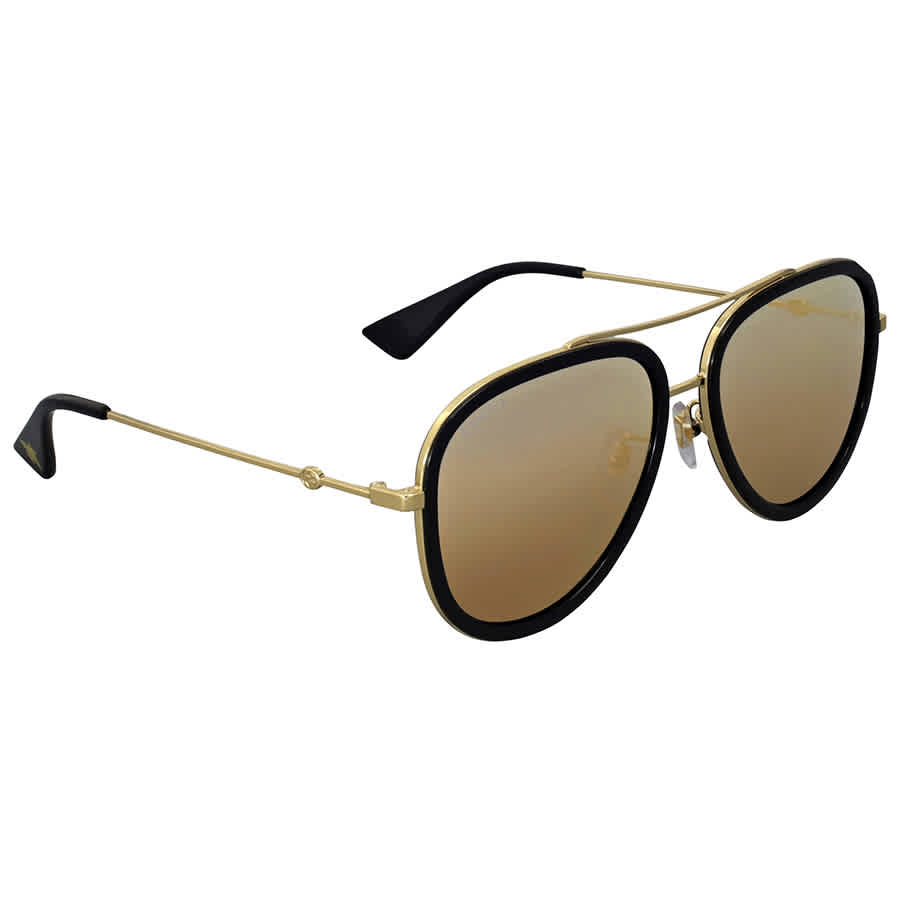 Gucci Gold Aviator Ladies Sunglasses Gg0062s 001 57 In Black,blue,gold Tone
