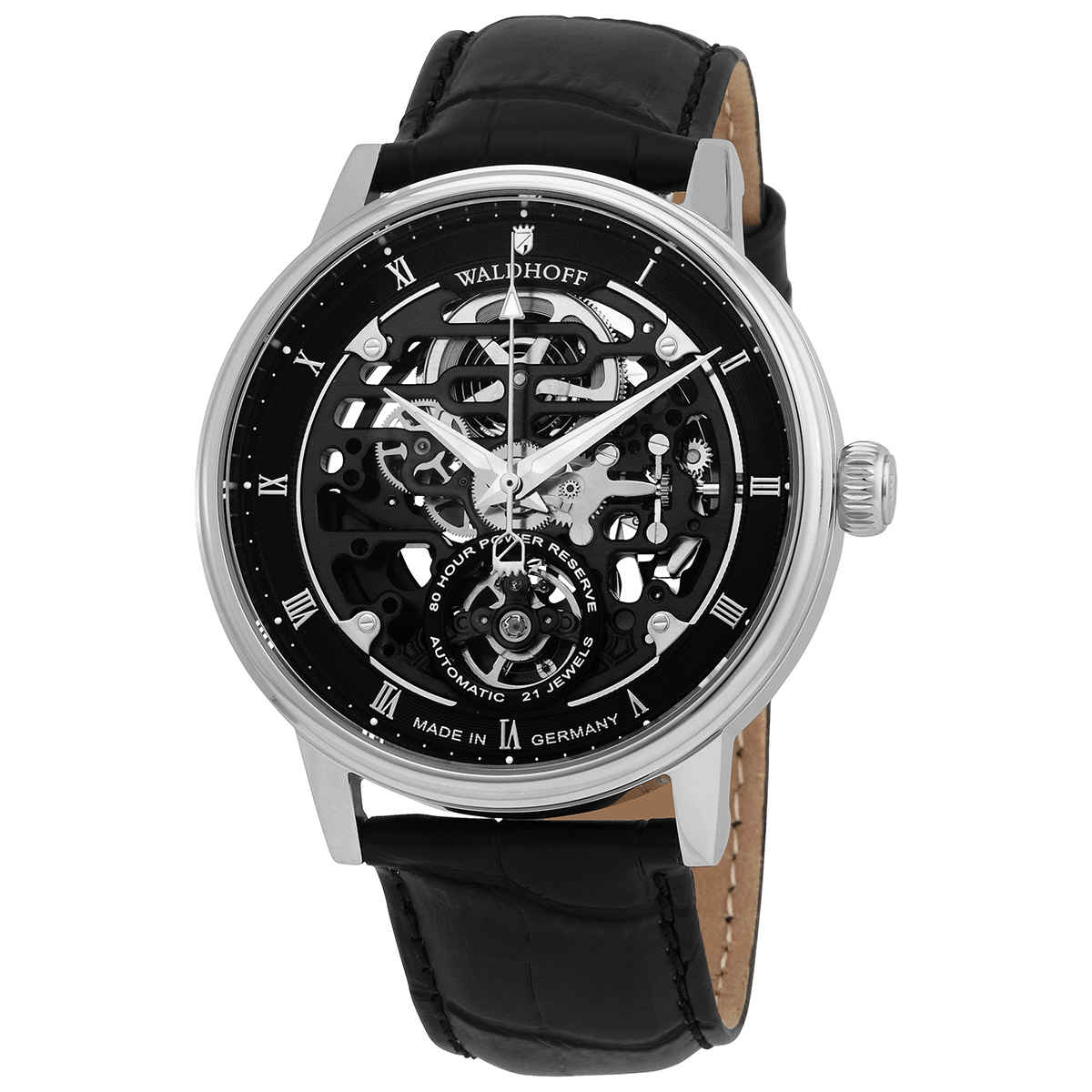 Waldhoff Capital Carbon Silver Black Dial Mens Watch 06d In Black,silver Tone
