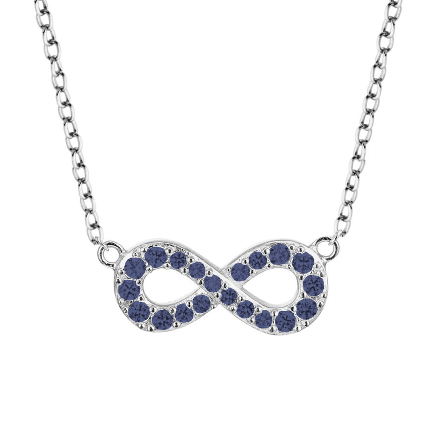 Ellie Byrd Sterling Silver Created Blue Sapphire Infinity Necklace In Metallic