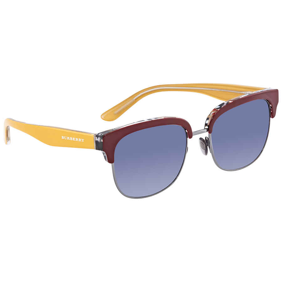 Burberry Blue Shaded Square Sunglasses Be4272-37384l-53 In Gold
