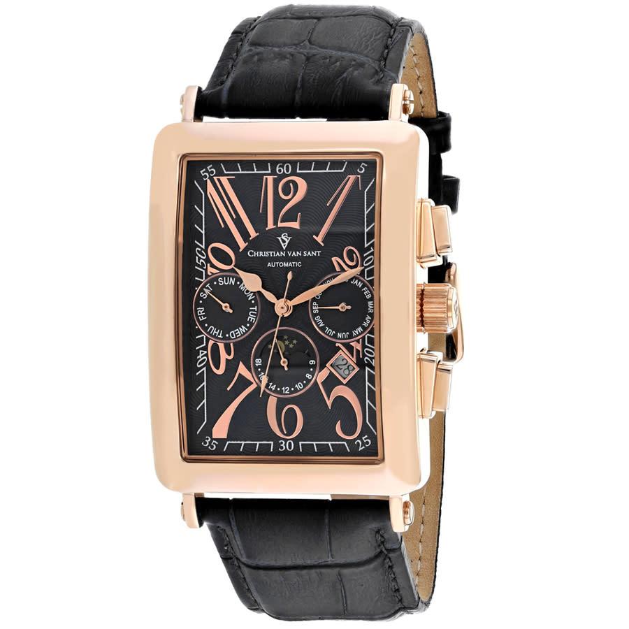 Christian Van Sant Prodigy Black Dial Mens Watch Cv9141 In Black,gold Tone,pink,rose Gold Tone