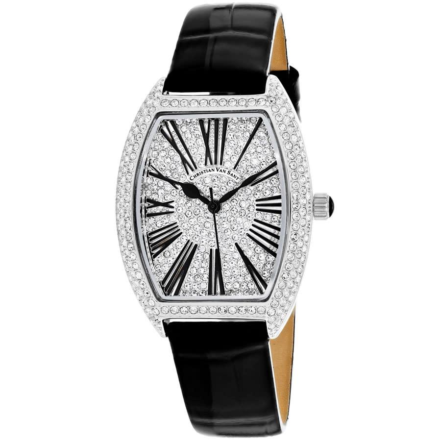 Christian Van Sant Chic Quartz Silver Dial Ladies Watch Cv4840 In Black,silver Tone