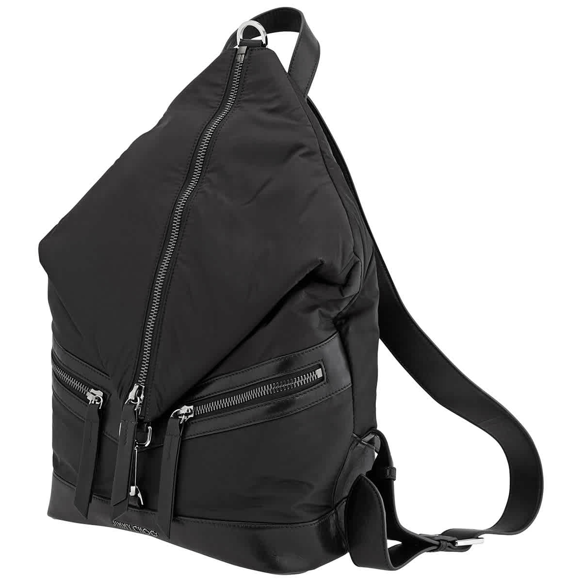 JIMMY CHOO MENS FITZROY/M SOFT NYLON AND SATIN LEATHER BACKPACK IN BLACK