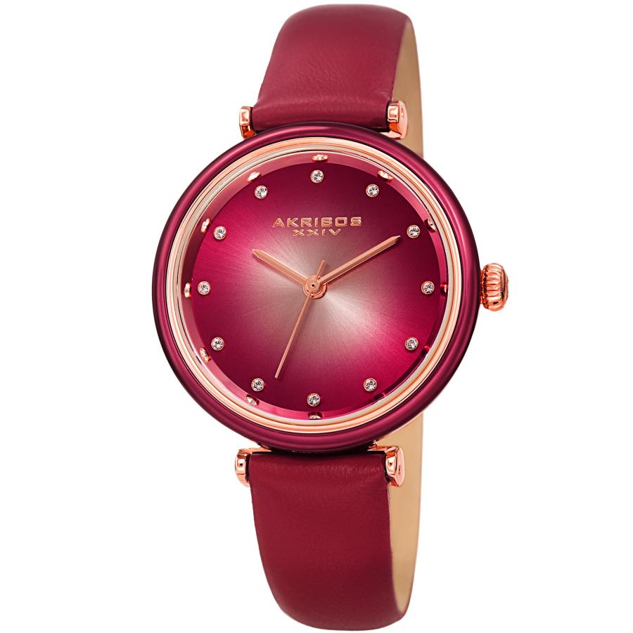 Akribos Xxiv Quartz Red Dial Ladies Watch Ak1035pk