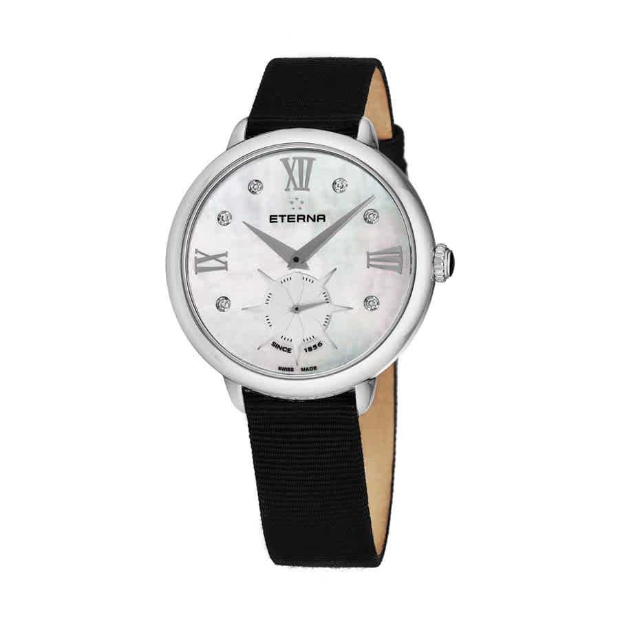 Eterna Eternity Quartz Diamond White Mother Of Pearl Dial Ladies Watch 2801.41.66.1408 In Black