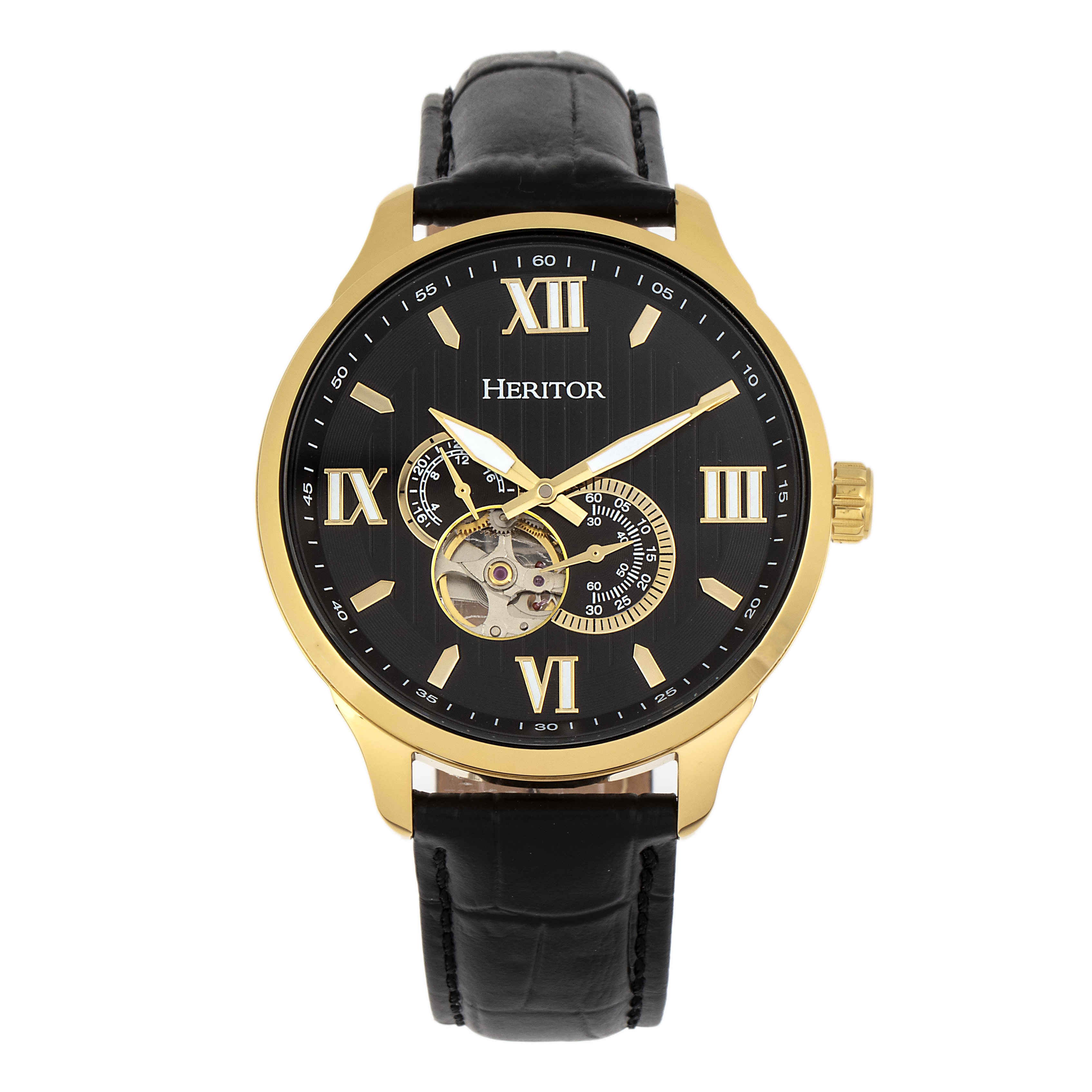 Heritor Harding Automatic Black Dial Mens Watch Hr9004 In Gold
