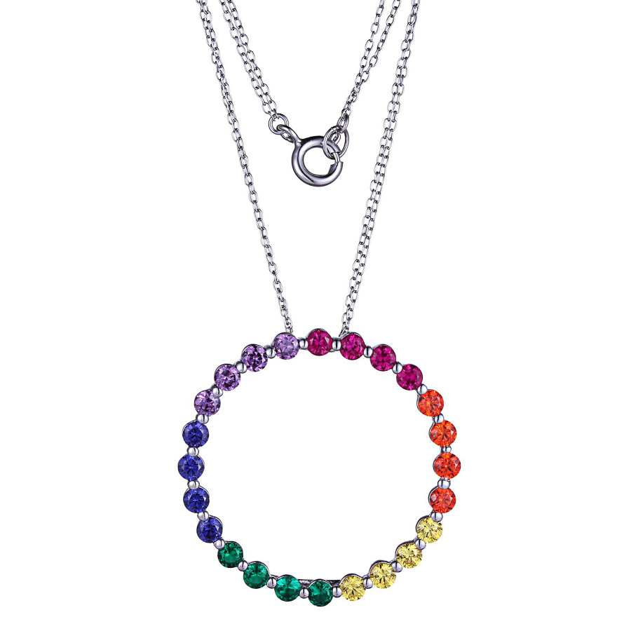 Classic Treasures Sterling Silver Created Ruby Rainbow Cubic Zirconia Open Circle Pendant Necklace In Metallic