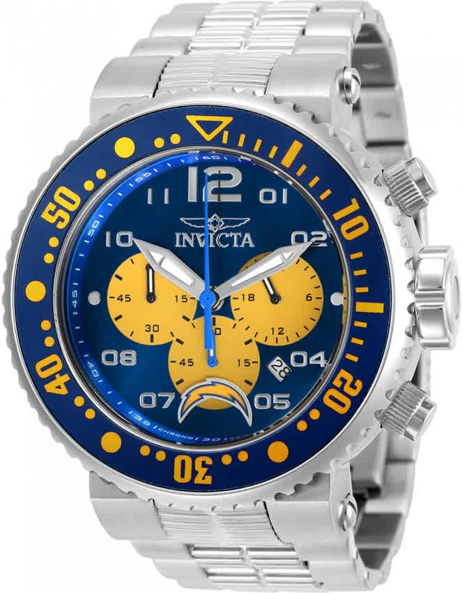 Invicta Nfl Los Angeles Chargers Chronograph Quartz Mens Watch 30271 In Metallic