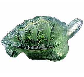 Lalique Caretta Turtle Green Crystal 14010
