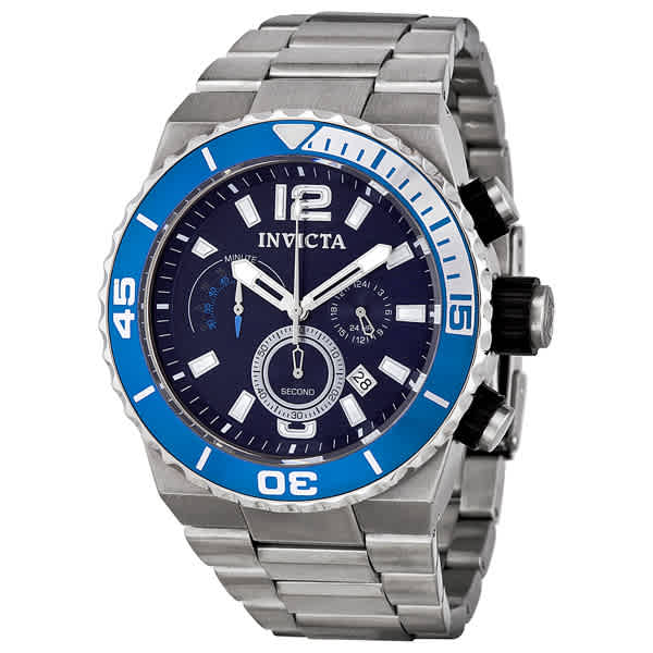 Invicta Pro Diver Quest Chronograph Stainless Steel Blue Dial Mens Watch 1342 In Metallic