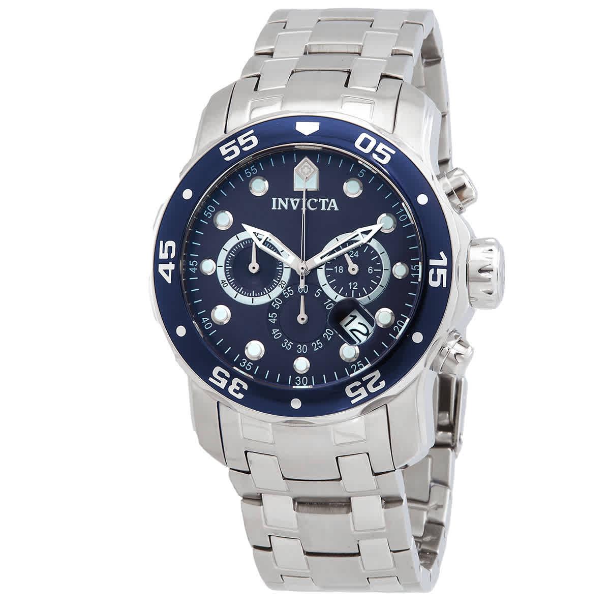 Invicta Pro Diver Chronograph Blue Dial Mens Watch 0070 In Metallic