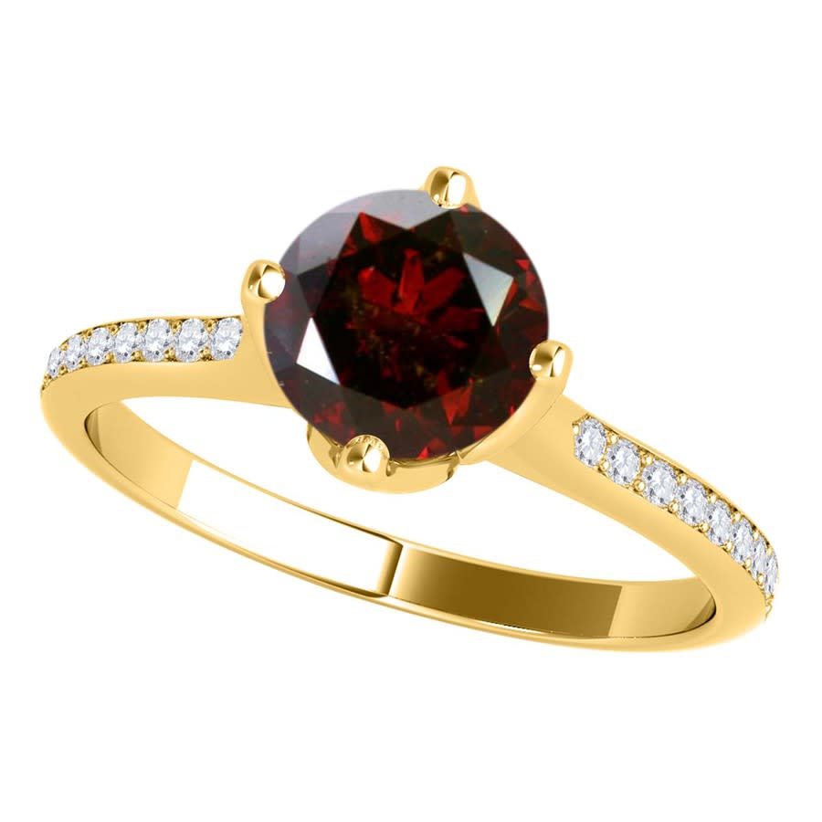 Maulijewels 1.15 Carat Natural Round Red Diamond Women Solitaire Engagement Ring In 14k Solid Yellow Gold In Siz In Gold Tone,red,white,yellow