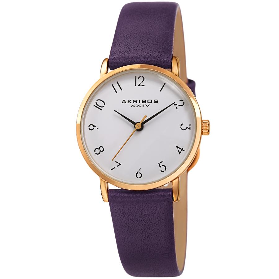 Akribos Xxiv Quartz White Dial Ladies Watch Ak1087pu In Purple