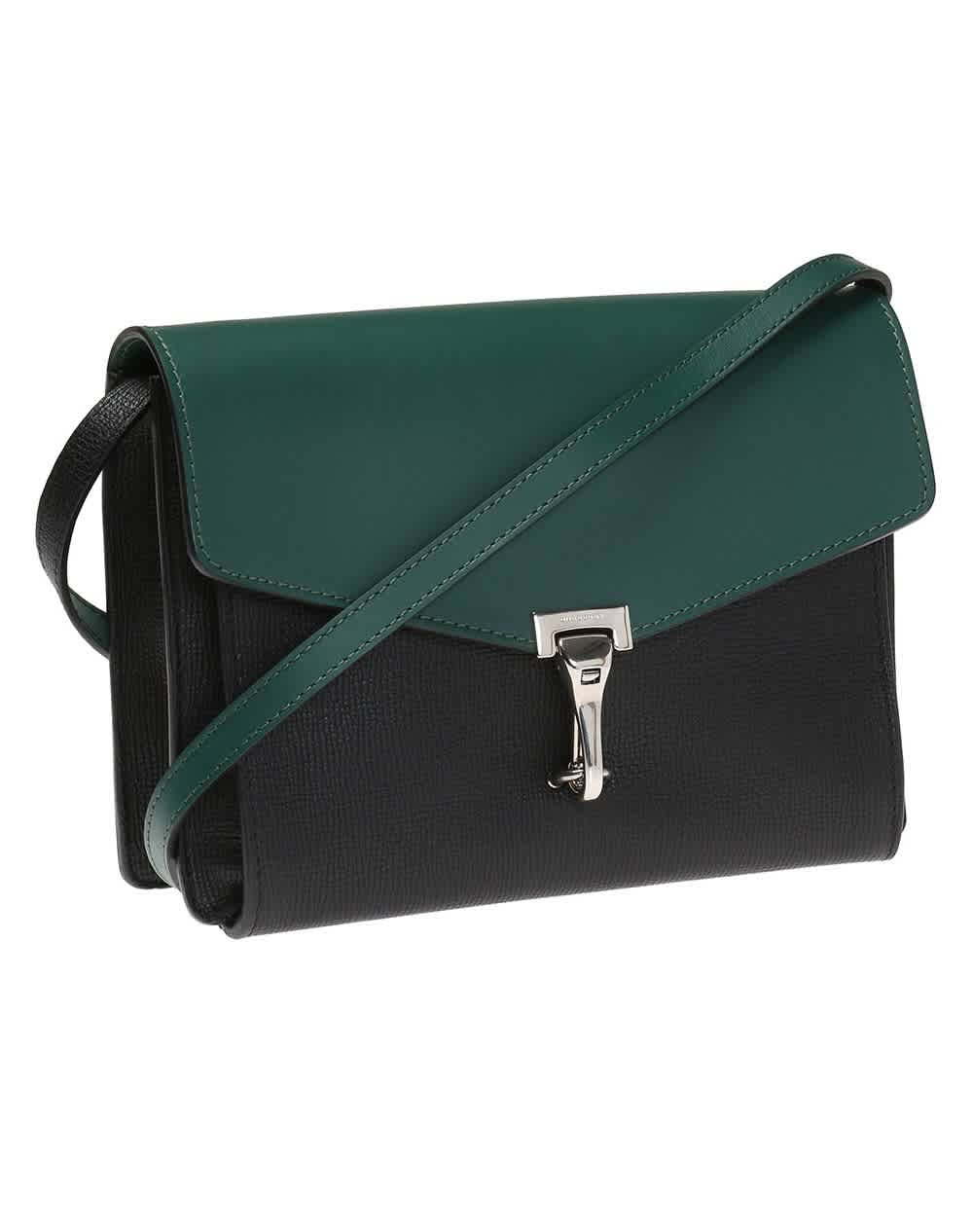 Burberry Black/sea Green Small Macken Colorblock Leather Crossbody Bag In Black,green,two Tone