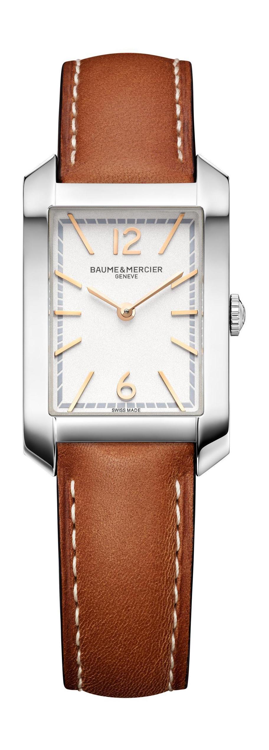 Baume Et Mercier Hampton Quartz Silver Dial Ladies Watch 10472 In Brown,gold Tone,pink,rose Gold Tone,silver Tone