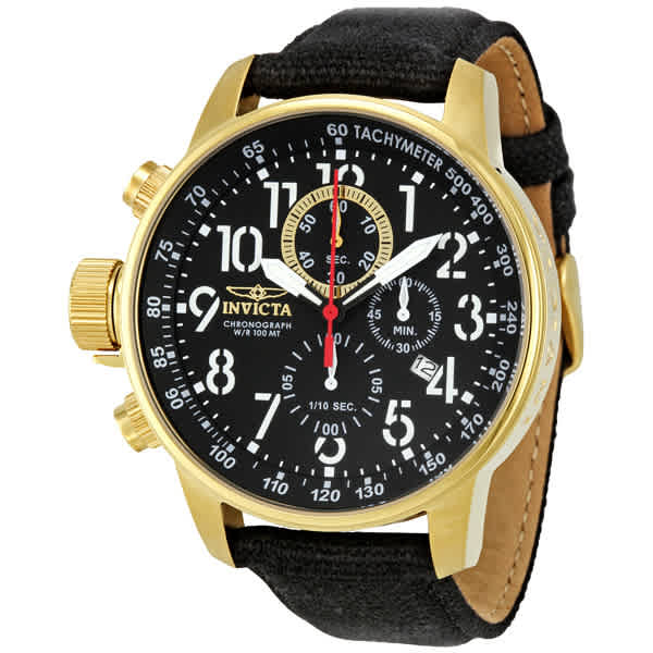 Invicta Lefty Chronograph Black Dial Gold-tone Mens Watch 1515