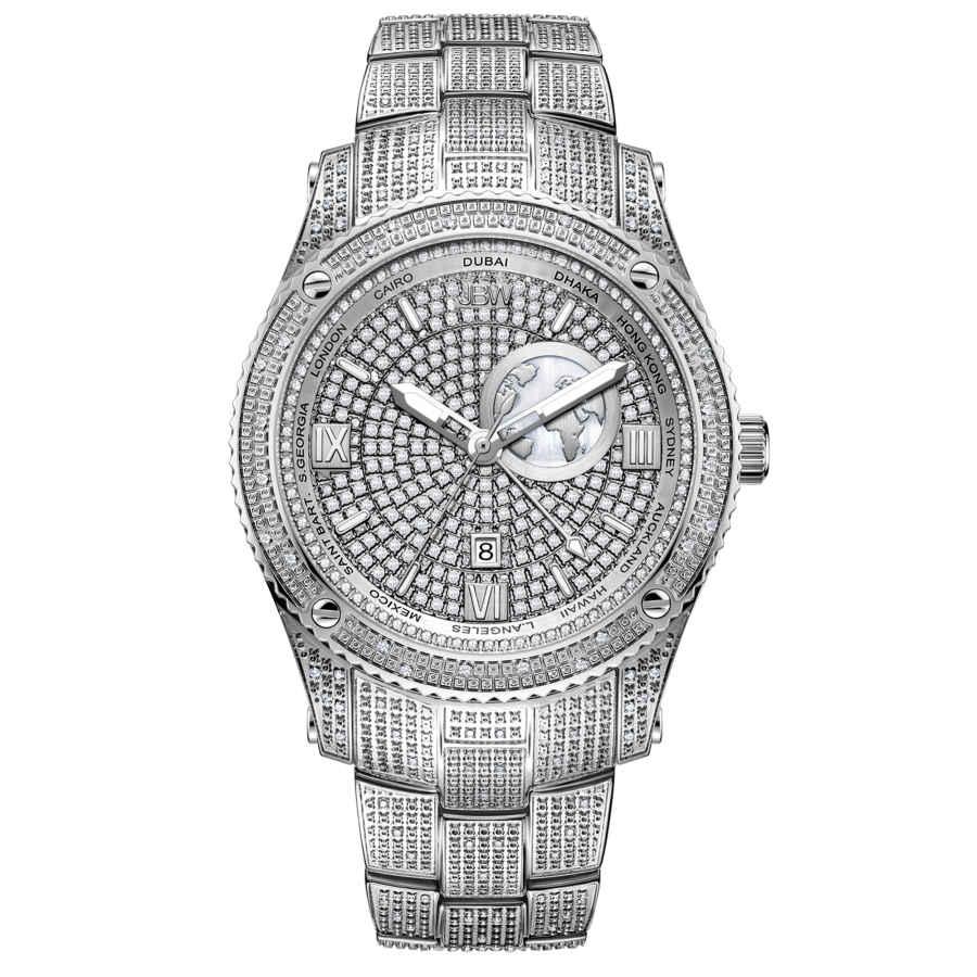 Jbw Jet Setter Gmt Quartz Diamond Silver Dial Mens Watch J6370b In Silver Tone