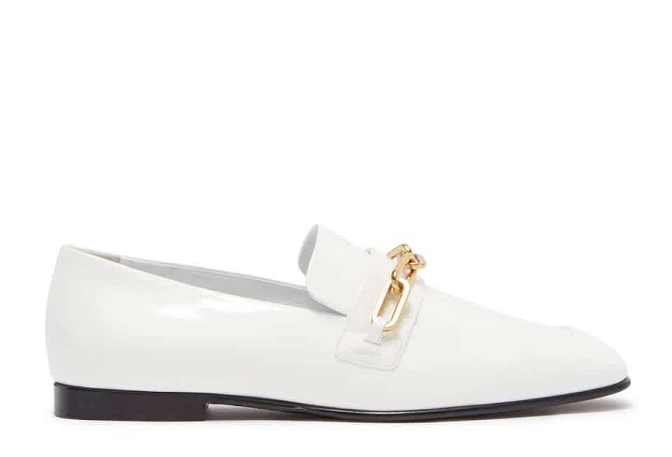 Burberry Chillcot Patent Leather Link Detail Loafers In Gold Tone,white